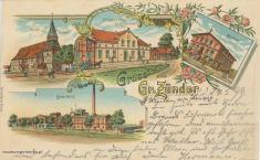 Cedry Wielkie są największą wsią na żuławach Gdańskich. Lokował ją w 1353 roku wielki mistrz krzyżacki Winrych von Kniprode. Na pocztówce widzimy cztery największe budowle tej miejscowości: kościół, aptekę, restaurację Schleusnera i cukrownię. Początki kościoła sięgają połowy XIV wieku. Z czasem przybrał formę trójnawowej bazyliki co świadczyło o zamożności i znaczeniu osady. W 1946 podpalony przez szabrowników, został odbudowany pod koniec lat osiemdziesiątych XX wieku. Od 1989 jest kościołem parafialnym pod wezwaniem Aniołów Stróżów.