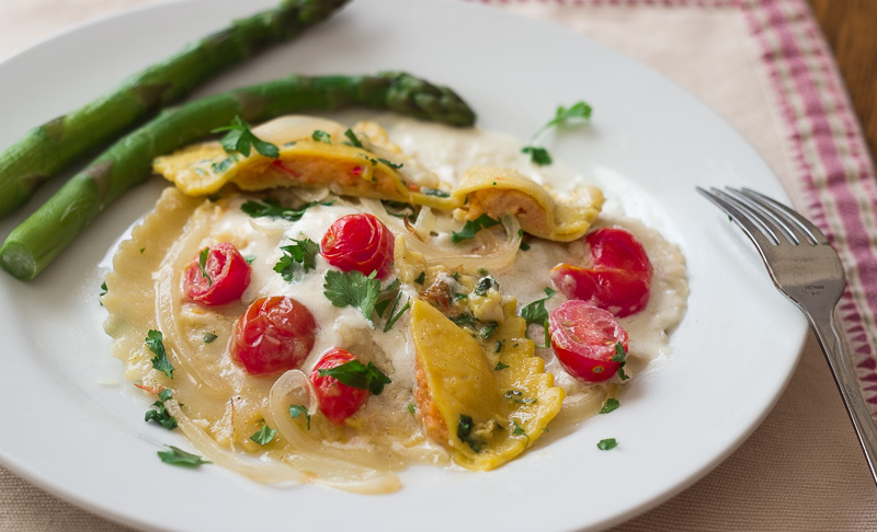 Lobster Ravioli with Creamy Sauce, Cherry Tomatoes | G'day Soufflé