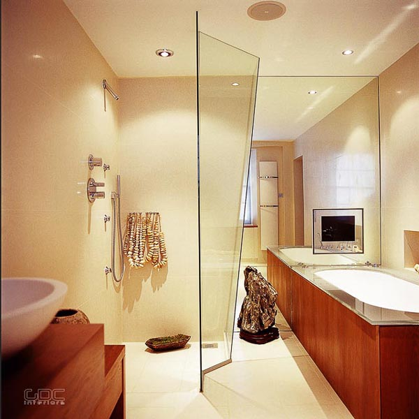 interior design services modern contemporary bathroom design London penthouse by GDC interiors