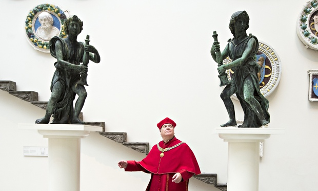 Two of Cardinal Wolsey Angels with Paul Jesson, who plays Cardinal Wolsey in the RSC adaptions of Hilary Mantel's books