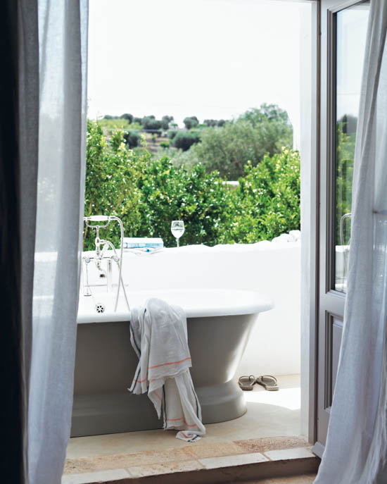living a simple life outdoor bath