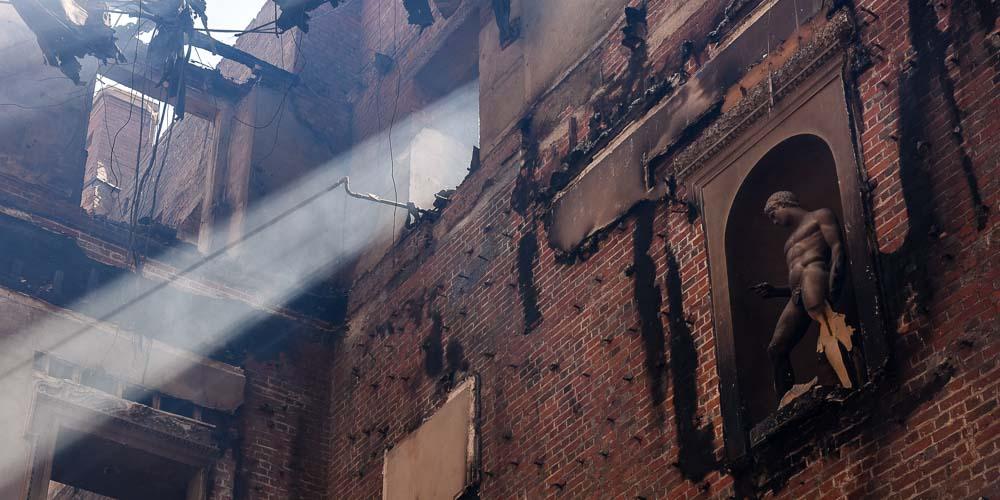 Clandon Park main hall after fire