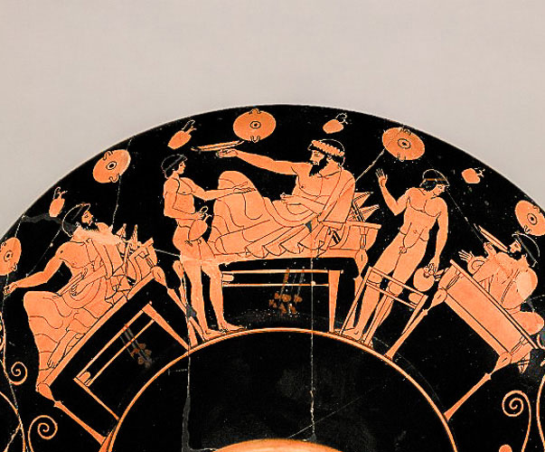 greek art - symposium scene Greek form of drinking party where men uncovered themselves to indulge in wine song and sex in the company of boys and courtesans
