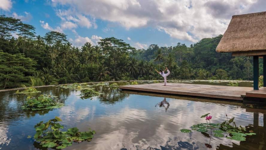 Yoga at Lotus Pond Four Seasons Bali at Sayan