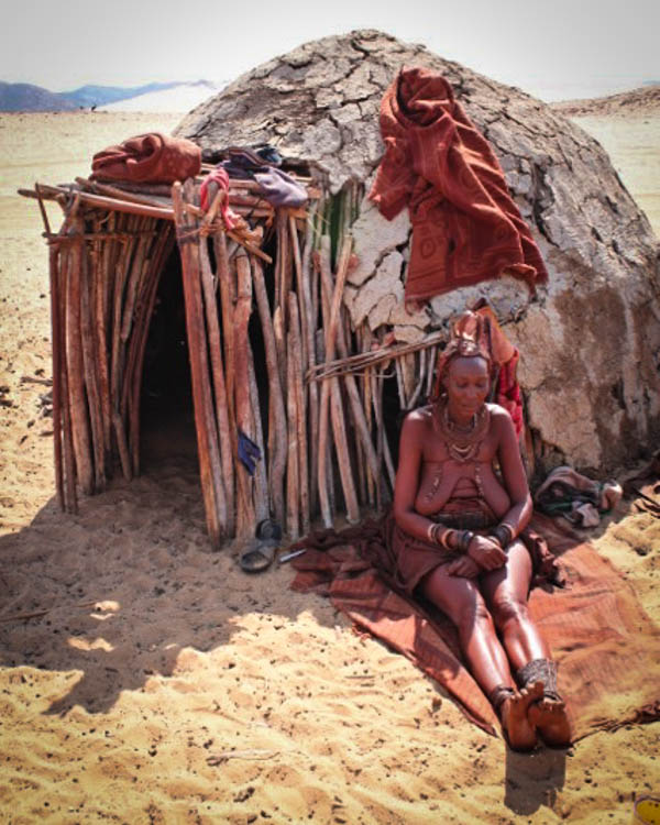 Himba people The women paint themselves in a mixture of ochre and animal fat