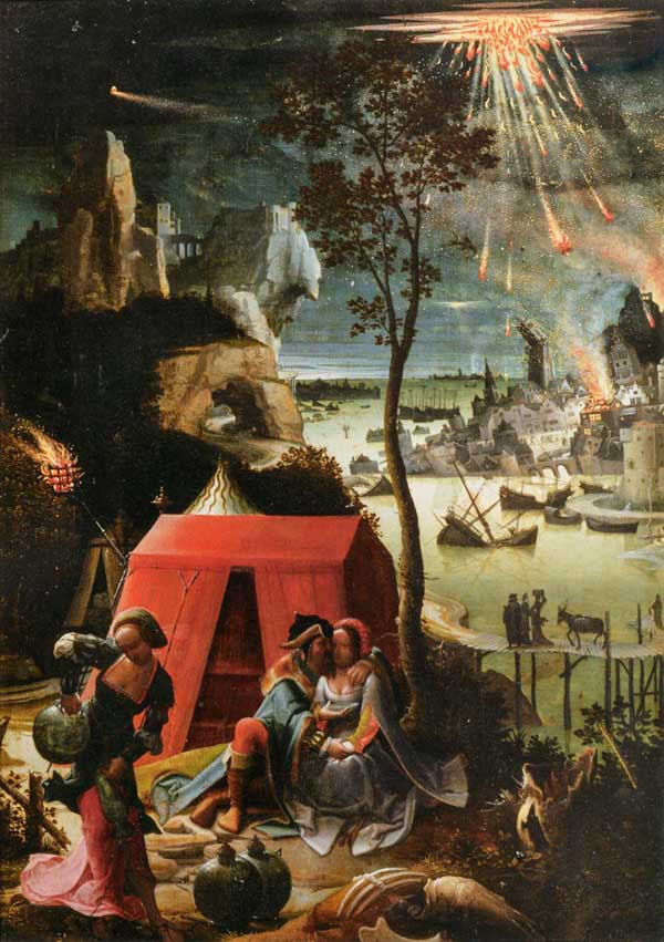 Lot and his Daughters (1520) attributed to Lucas van Leyden. Depiction of the fall of Sodom
