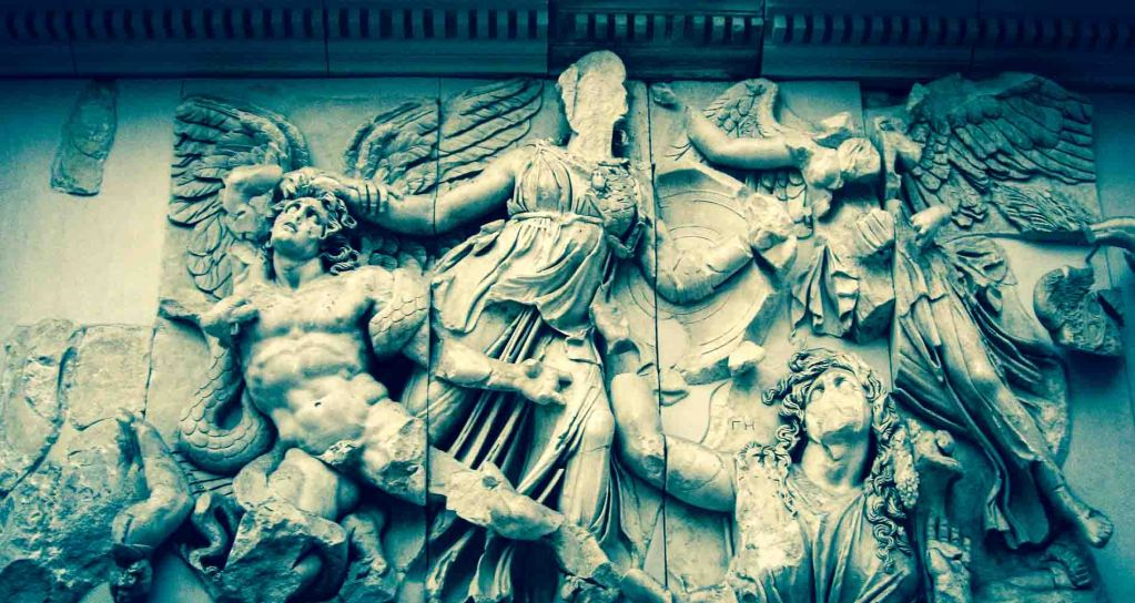 Ruins and Fragments Pergamon Museum Berlin. The Gigantomachy frieze depicts the struggle of the gods against the children of the primordial goddess Gaia