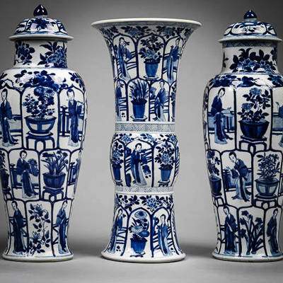 GARNITURES - VASE SETS FEOM NATIONAL TRUST HOUSES London Art and Design Events January 2017