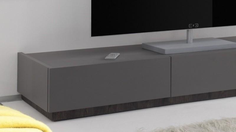 meuble tv bas design laque gris mat