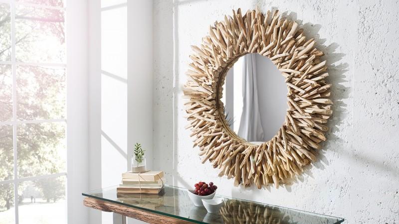 Grand Miroir Rond Design Moderne Cadre Bois Flott Roy