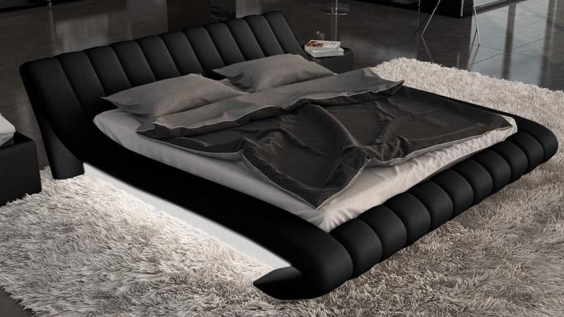 Lit Design Noir Et Blanc Avec Lumire Et Simili 160x200 Cm