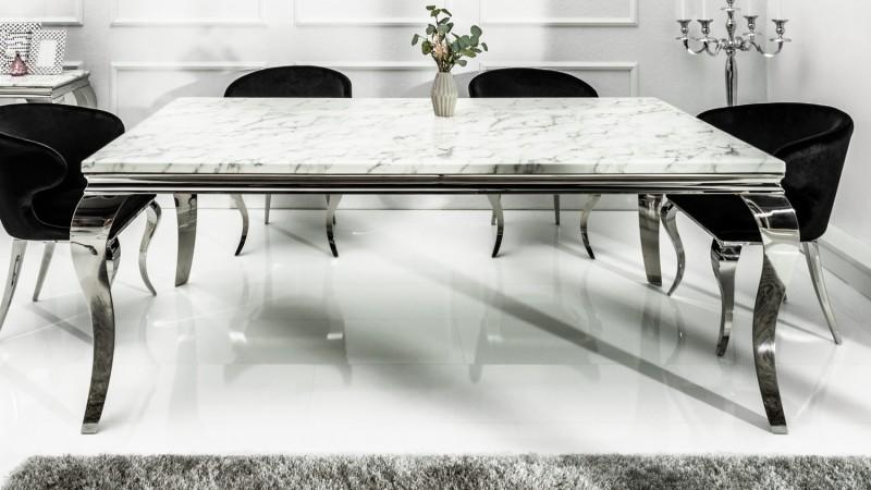 manger baroque plateau marbre blanc