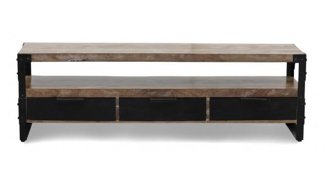 banc tv design industriel en bois massif d acacia marlon gdegdesign