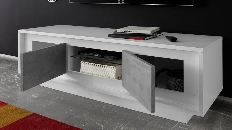 meuble tv design 160 cm laque blanc