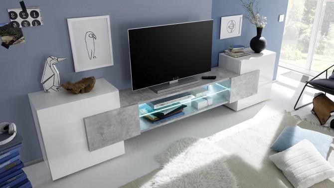 meuble tv led beton et laque blanc oman