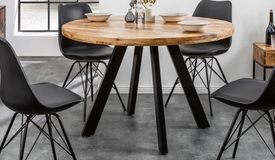 table ronde industrielle en bois massif davis