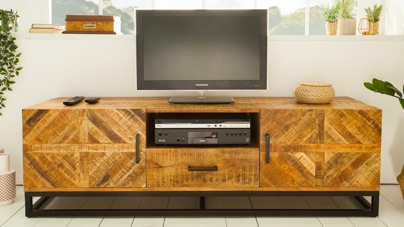 grand meuble tv industriel en bois de