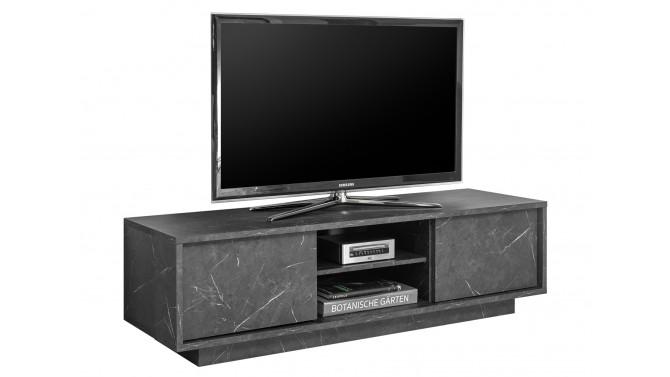 meuble tv design decor marbre noir avec rangements ercole gdegdesign