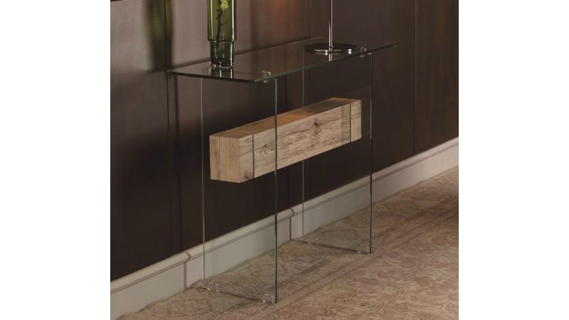 console verre et bois design