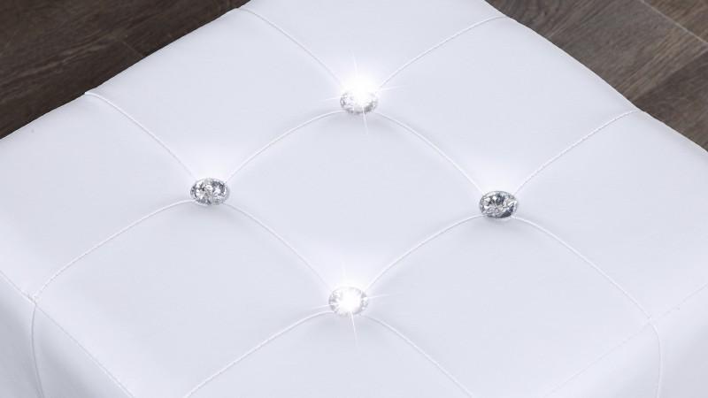 pouf strass en simili cuir blanc