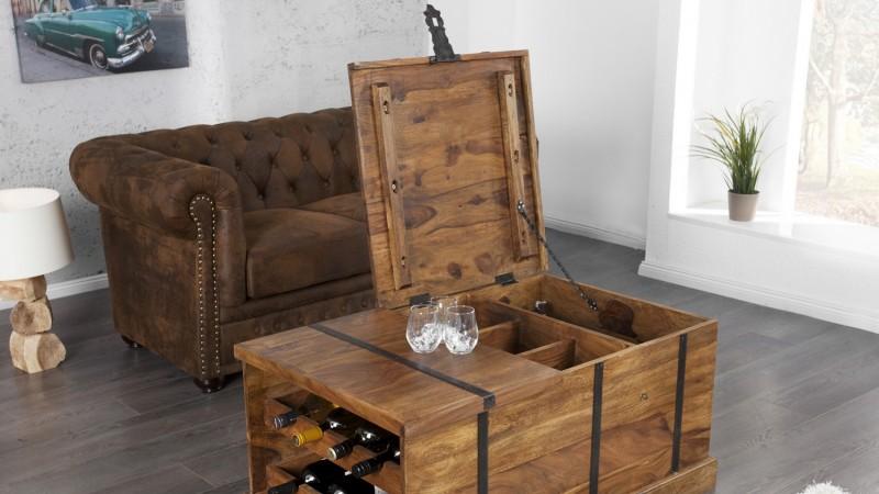 table basse de salon en bois coffre de