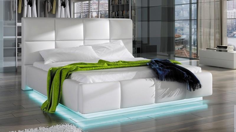 Lit Design Blanc 160x200 Cm Avec Clairage LED Winston