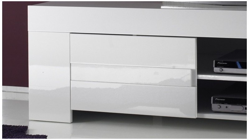Meuble TV Design Laqu Blanc Brillant Konrad 140 Cm