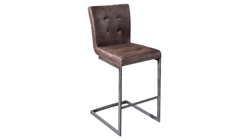chaise de bar en cuir industriel marron