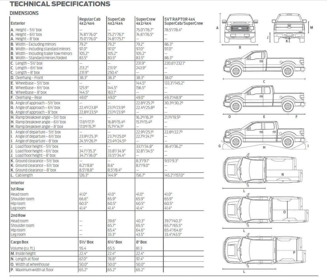 2017 Ford F 150 Interior Dimensions