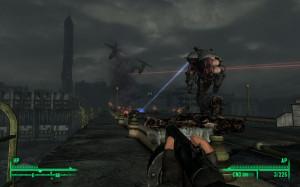 Liberty Prime combatte contro i soldati dell'enclave