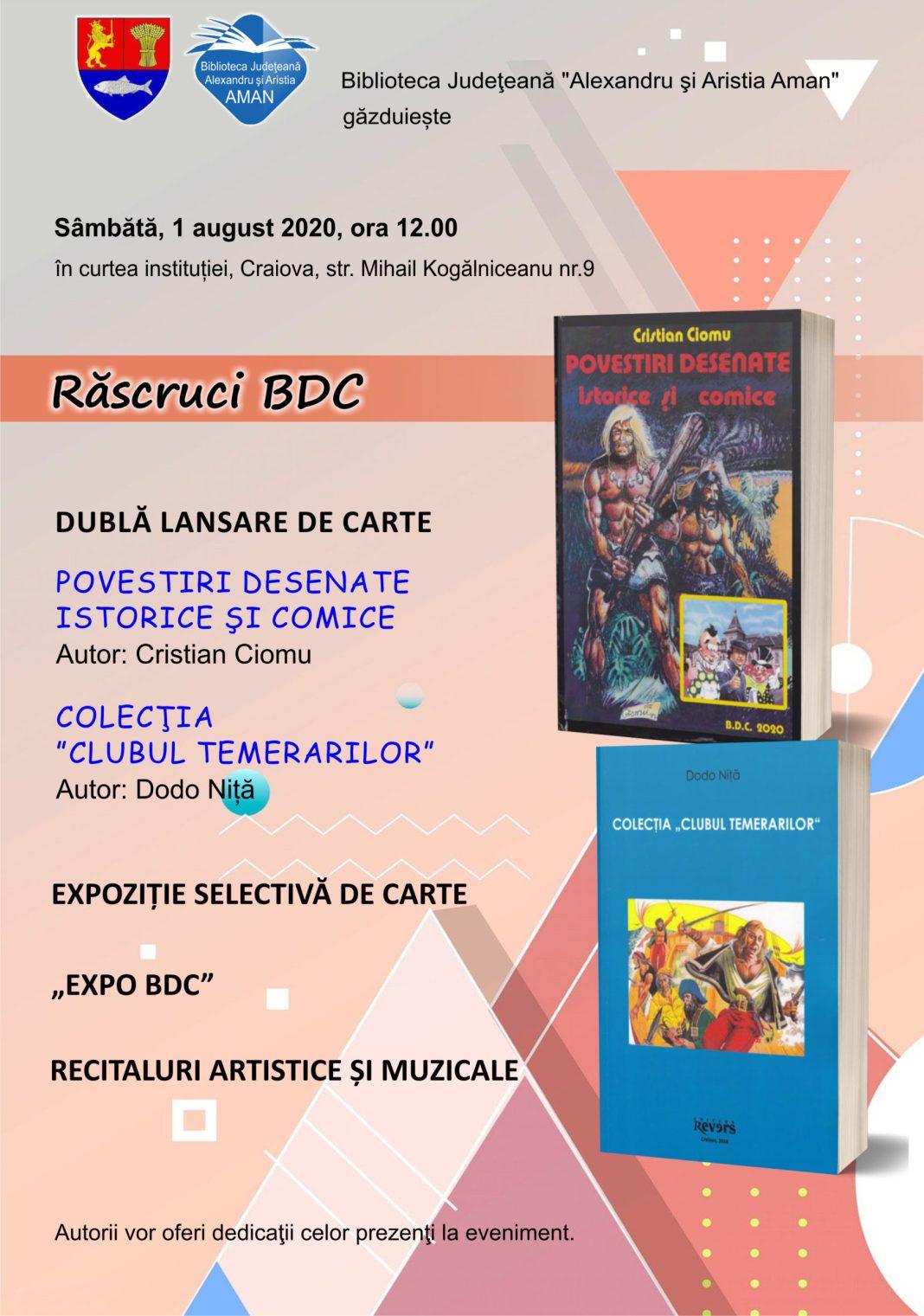 """Biblioteca Aman găzduiește sâmbătă, 1 august, începând cu ora 12:00, în curtea instituției, evenimentul """"Răscruci BDC"""""""