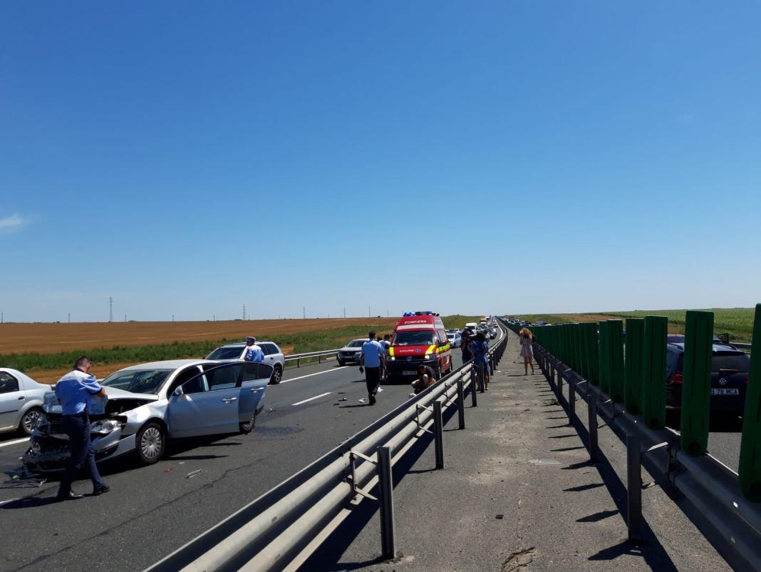 Încă un accident în lanț pe Autostrada Soarelui, pe sensul spre București