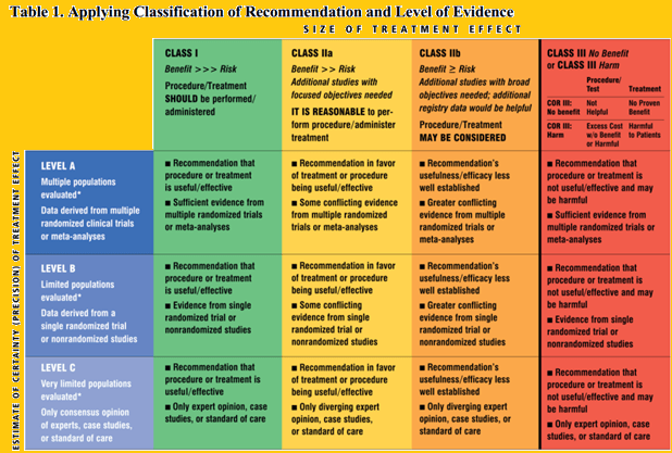 Recommendation and Level of Evidence 2