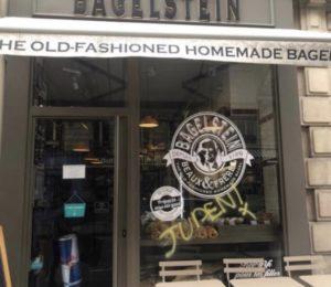 Un tag antisémite sur la devanture d'un Bagelstein, le restaurant porte plainte