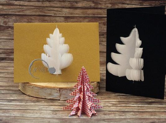 2 weihnachtskarten Tannenbaum logo