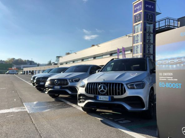 Some of the Mercedes EQ Boost lined up for tests in Vallelunga (photo Zanini)