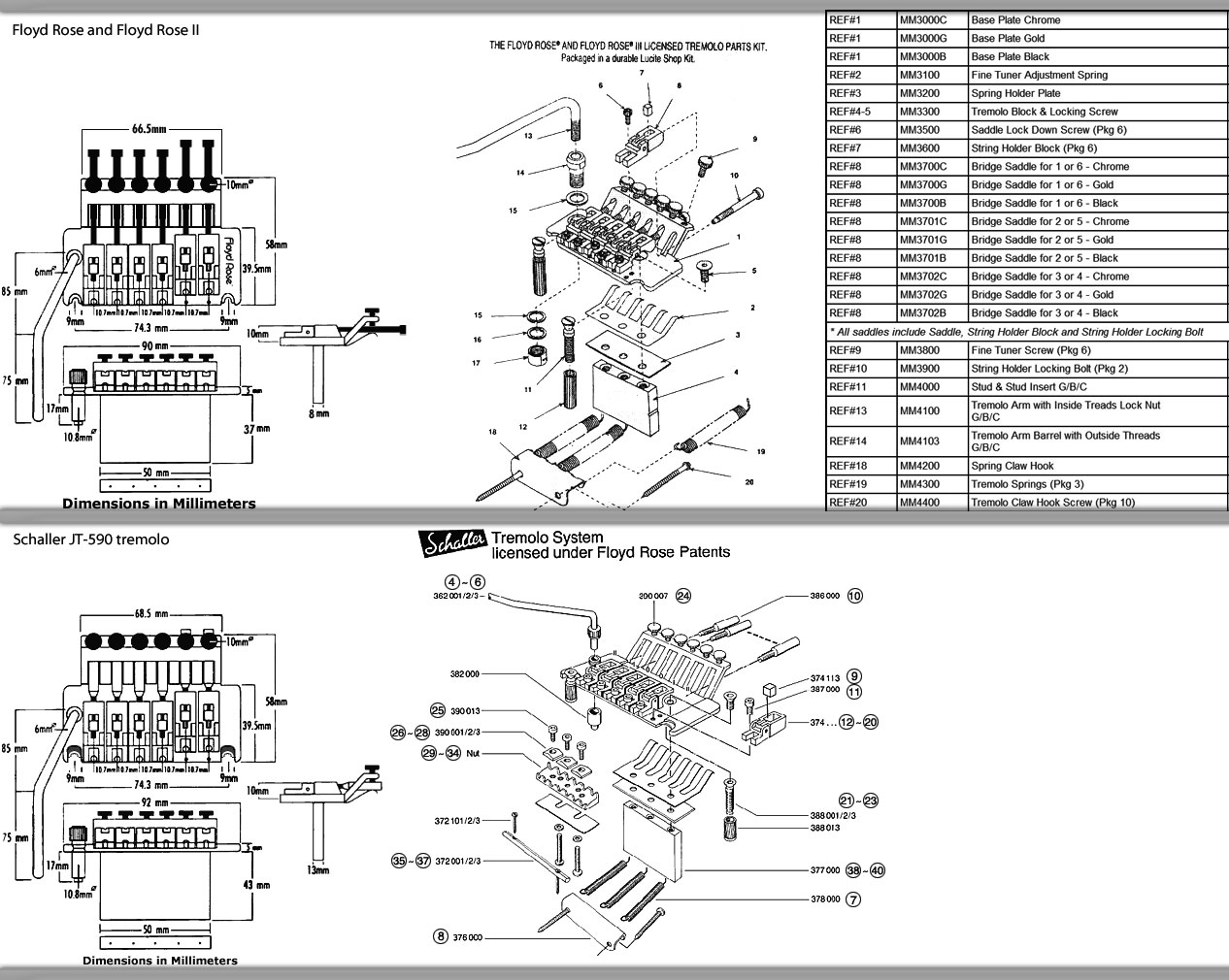 Locking Tremolo Diagram And Parts List Gear Vault