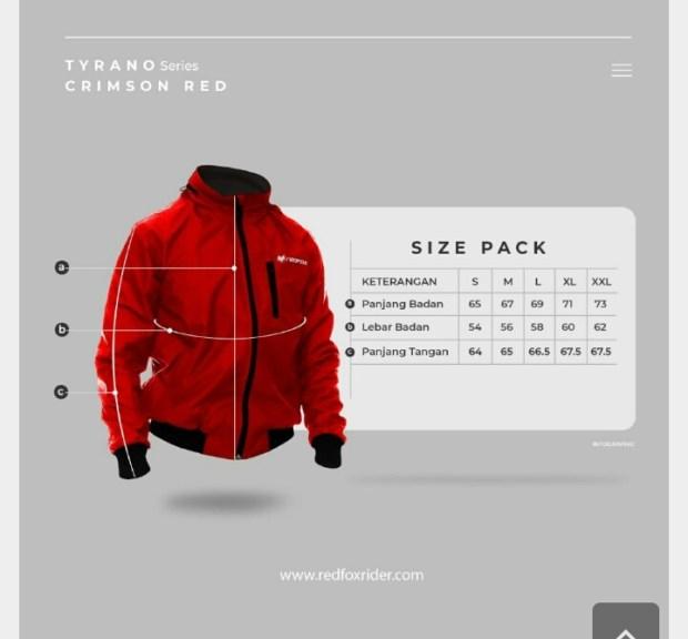 Ukuran jaket RedFox Tyrano