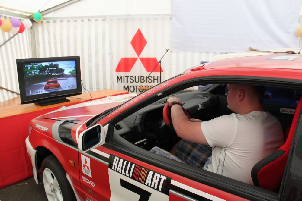 The Elbetreffen rally simulator is actually a Mitsubishi Colt!