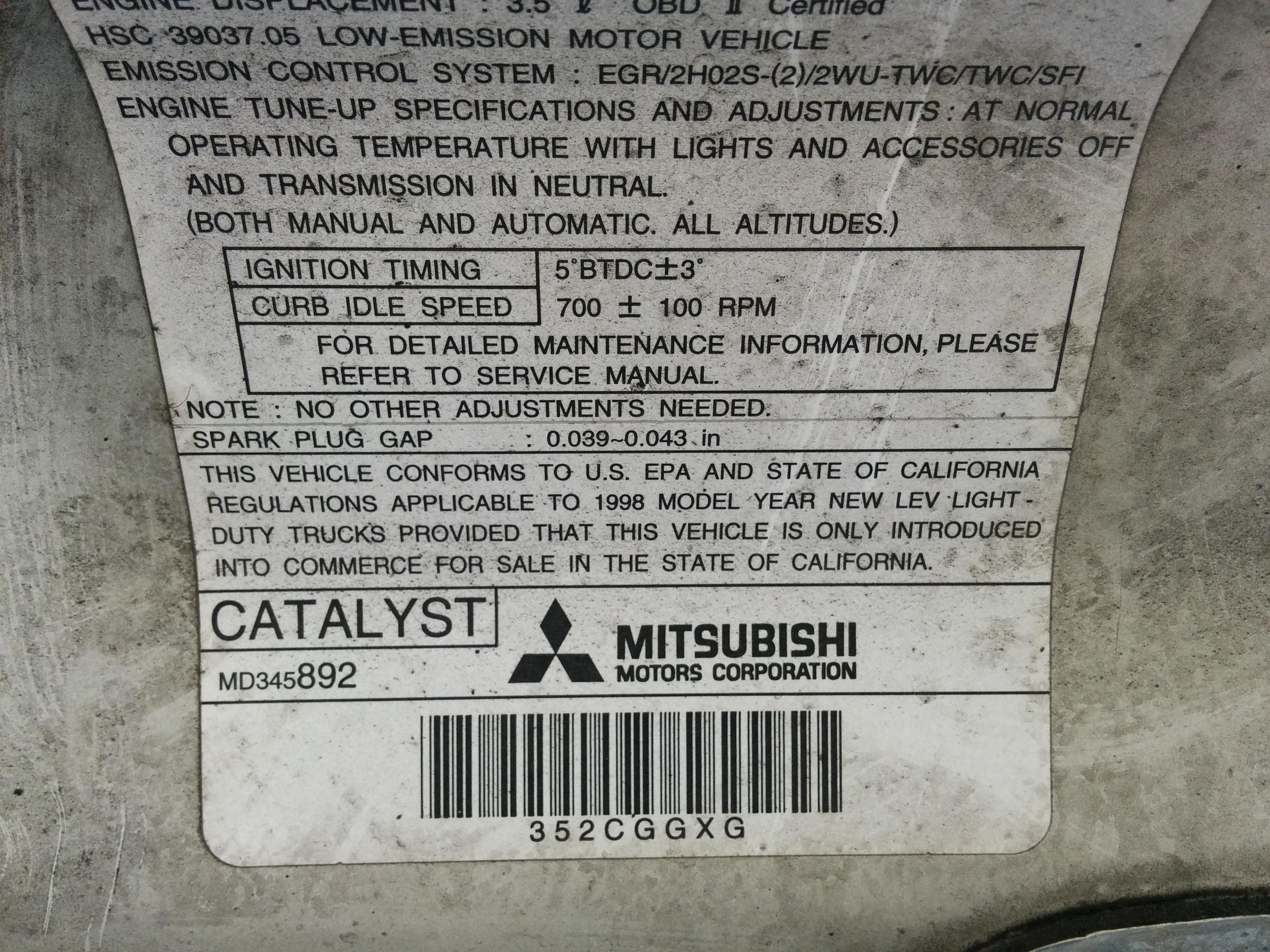 98 montero california emissions
