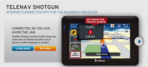 Telenav Shotgun is an all-in-one Internet connected GPS for business travelers