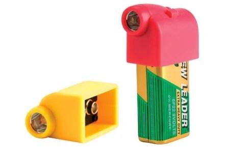 Battery Snaps turn ordinary 9V into handy flashlights