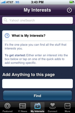 The My Interests page can be customized.