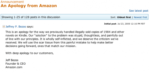 An Apology from Amazon - kindle Discussion Forum