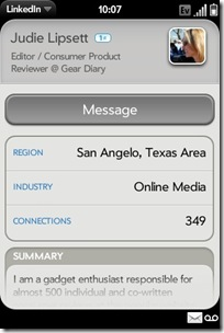 Palm Pre App Catalog. 30 Apps in 30 Days. Day 14: LinkedIn