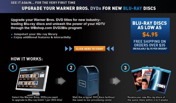 WB Offers DVD for Blu-Ray Movie Trades for as Low as $4.95 Per Movie!