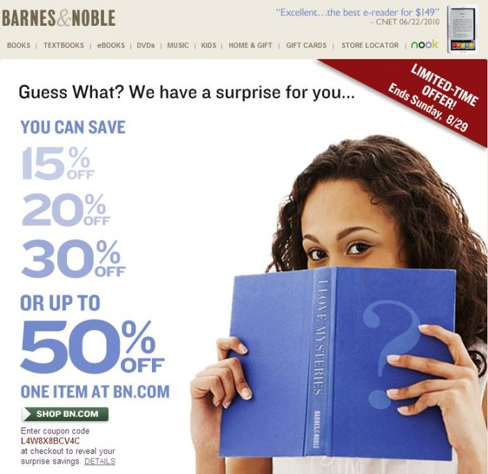 Awesome Barnes & Noble Coupon Features, But Excludes Nook & eBooks!