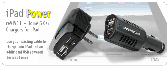 Scosche Releases reVIVE II Dual USB Car and Home Chargers for iPad
