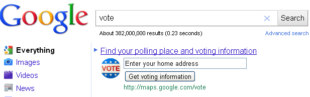 Election Day Reminder - Find Your Polling Place Easily With Google