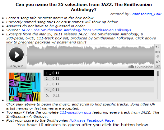 Music Diary Notes: The Smithsonian Institute Challenges You to Test Your Jazz Knowledge